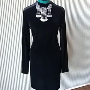 NWOT. Dress it UP! Black velour long sleeve dress